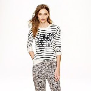 J. Crew striped crew sweatshirt women's XL